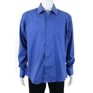 EUC Pierre Cardin Blue Button Up Shirt Size Large